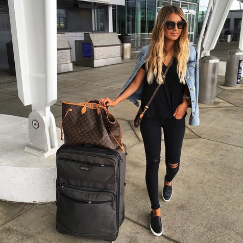 Denim Jacket Cool In Flight Style Inspo What Your Fave Bloggers