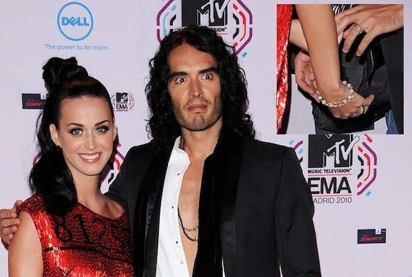 Katy Perry And Russell Brand Sport Yellow Diamond Wedding Bands At