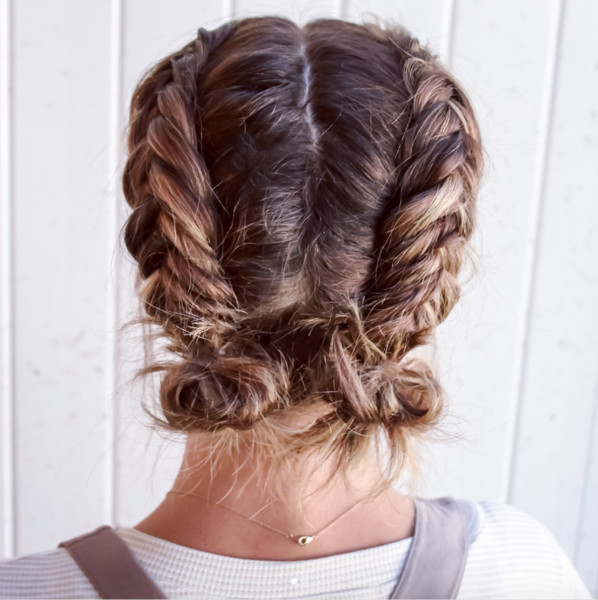 Double Dutch Fishtail Buns Perfectly Imperfect Messy Braids For Short Hair Livingly
