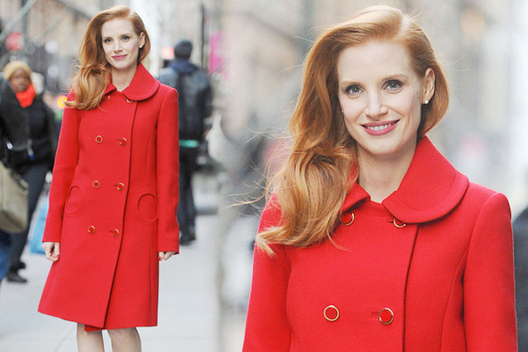 Jessica Chastain's Winter Red Coat - Look of the Day - Livingly