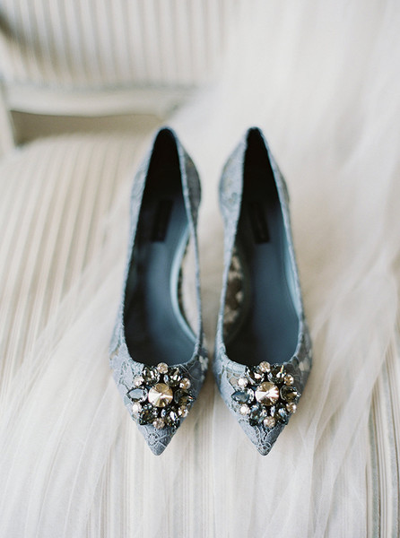 Lace Jeweled Kitten Heels