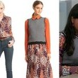 Mindy Kaling's Orange Printed Button-Down and Black-and-White Zig-Zag Sweater Vest on 'The Mindy Project'