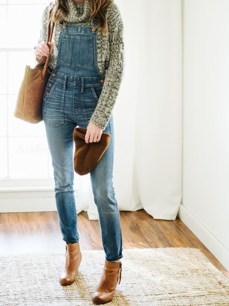 Style Overalls With Chunky Knits