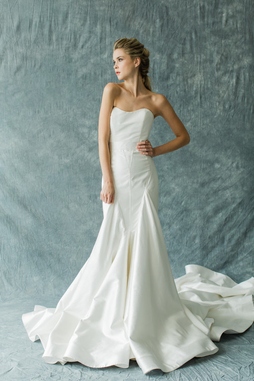 Elegant 2 Piece Wedding Dresses : Dramatic trained skirt modern and elegant two piece