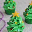Mini Christmas Tree Cupcakes