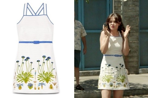 Zooey Deschanel's White Floral Dress with Blue Trim on 'New Girl'