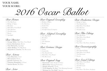 Cast Your Votes Now with Livingly's Printable 2016 Oscar Ballot