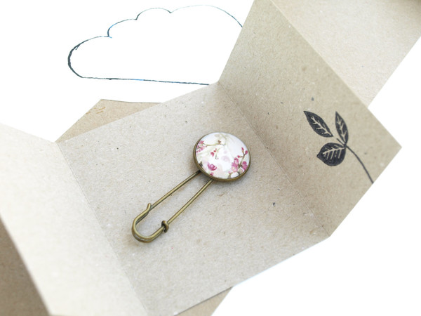 Bronze and Pink Floral Brooch
