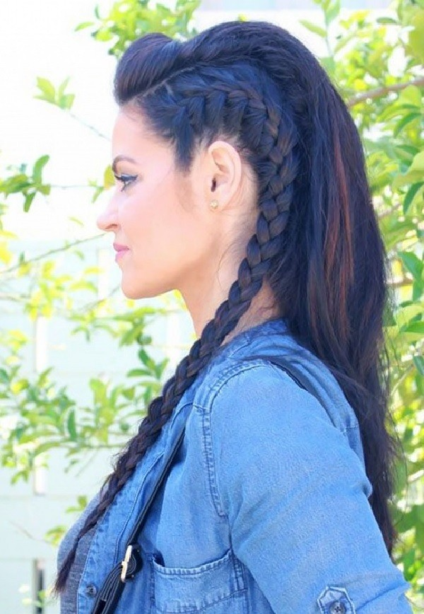 This side-swept French braid creates the illusion of an undercut.  Pinned from