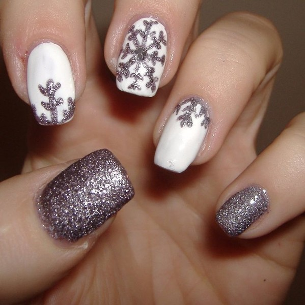Shimmery Snowflake Manicure