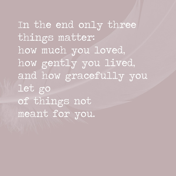In the end only three things matter: how much you loved, how gently you lived, ad how gracefully you let go of things not meat for you.