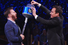 Jimmy Fallon Pours Water Down Chris Evans' Pants Because It's the Right Thing to Do