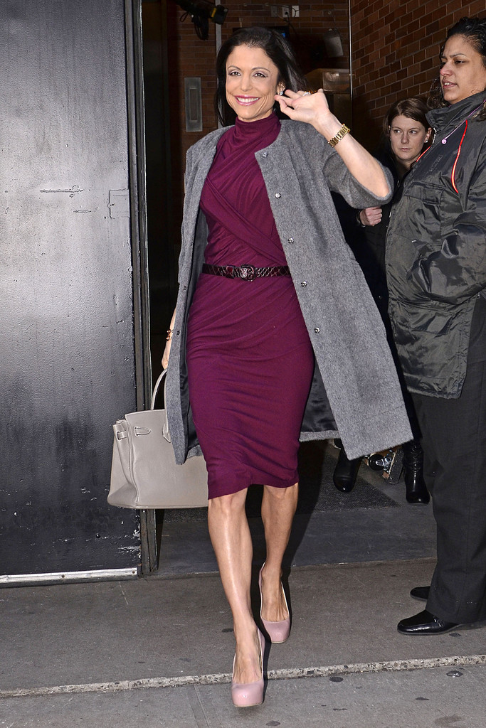 Bethenny Frankel Dons A Plum Cocktail Dress Out In Nyc
