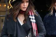 Nina Dobrev Patterned Scarf