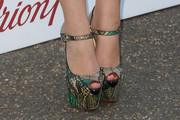 Chloe Green Peep Toe Pumps